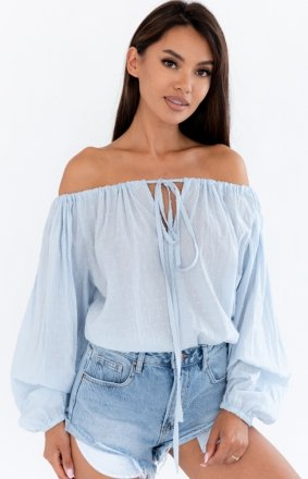 Letnia błękitna bluzka damska hiszpanka Clara