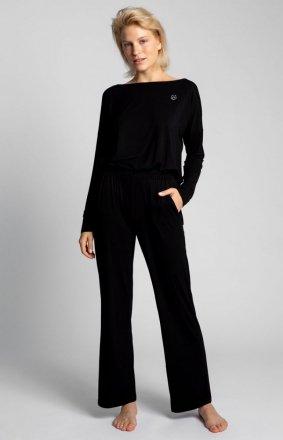 Spodnie do spania z szerokimi nogawkami czarne LA028