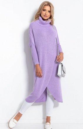 *Długi sweter z golfem fioletowy F1052