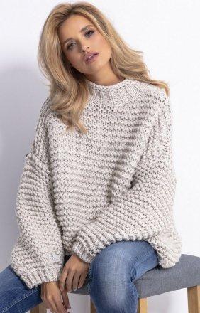 *Ciepły sweter alpaka beż F790