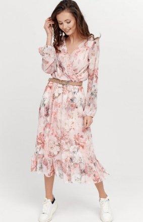 Sukienka midi z falbaną w kwiaty 0241/R11