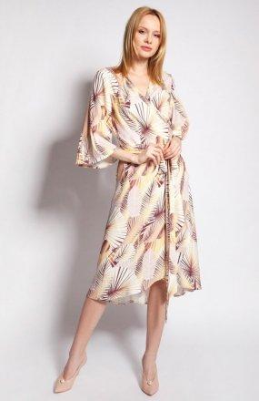 Sukienka kopertowa abstrakcyjne liście SUK186