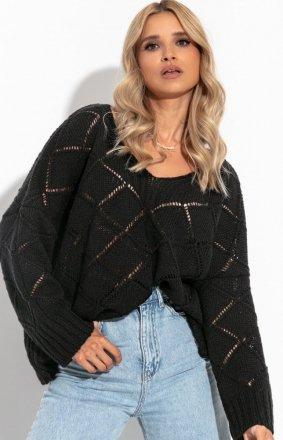 Oversizowy czarny sweter Fobya F1263