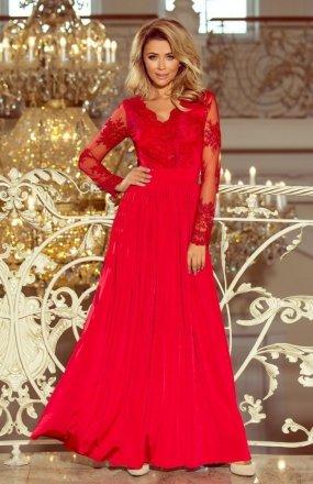 Numoco 213-3 długa sukienka czerwona