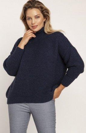 MKM SWE246 żebrowany sweter z golfem jeans