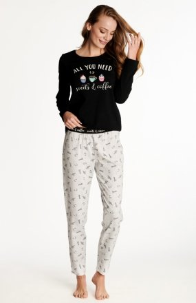 Henderson Ladies Westley 38261-99X piżama czarno-szara