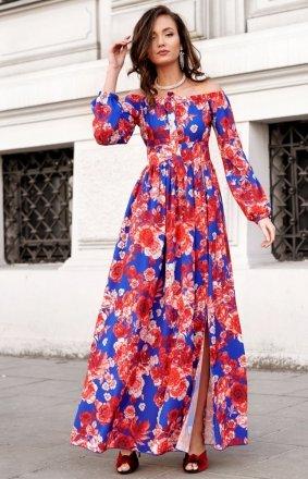 Elegancka długa sukienka w kwiatowy print 0245/S47