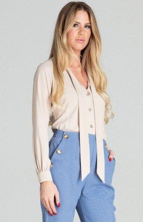 Beżowa bluzka z wiązaniem M700