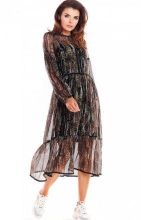 Szyfonowa sukienka midi Awama A316/W3