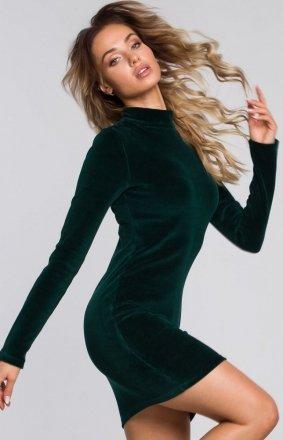 Ołówkowa welurowa sukienka Moe zielona M558