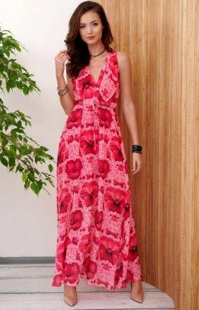Długa sukienka w kolorowe kwiaty 0287/R46