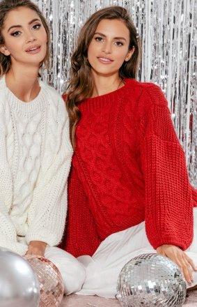 Czerwony oversizowy sweter Fobya F866