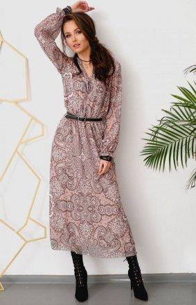 Wzorzysta sukienka midi Roco 0284/R26