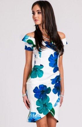 Ołówkowa sukienka w niebieskie kwiaty 248