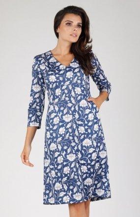 Nommo NA329 sukienka niebieskie kwiaty