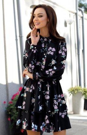 *Lemoniade L281 sukienka czarna w kwiatki