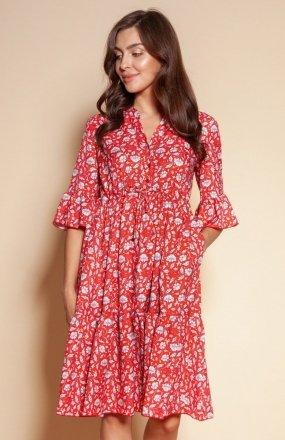 Sukienka z falbanami i troczkiem w pasie czerwona SUK197