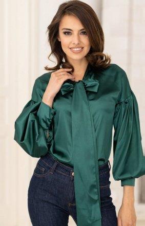 Satynowa koszula z kokardą zielona V287