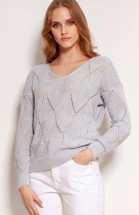 Ażurowy sweter szary SWE144