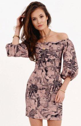 Dopasowana sukienka z hiszpańskim dekoltem 0278/B04
