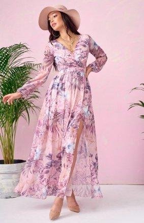 Długa sukienka w kwiaty 0219/U66