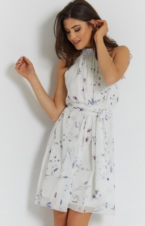 Letnia szyfonowa sukienka biały wzór Liv