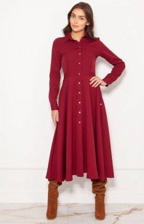 Koszulowa sukienka maxi bordowa SUK190