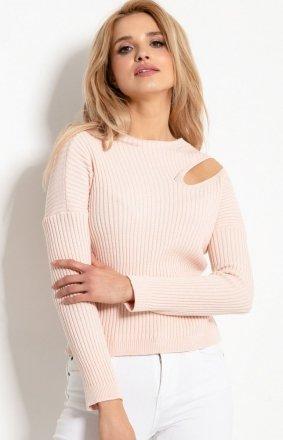 Sweterkowa bluzka z rozcięciem pudrowa F920