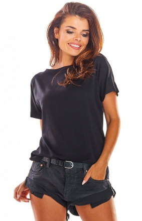 Bluzka z wiązaniami na plecach czarna A292