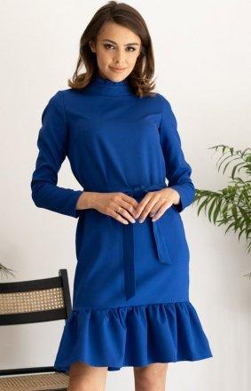 Dzienna sukienka z falbaną chabrowa Z399