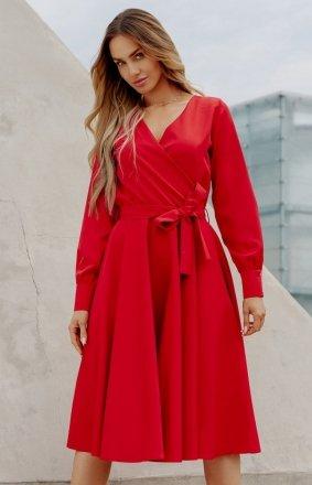 Casualowa sukienka midi czerwona L392A