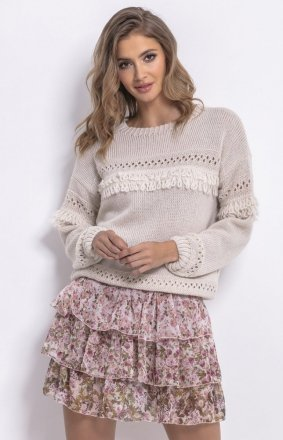 Sweter oversize z frędzlami mocca F745