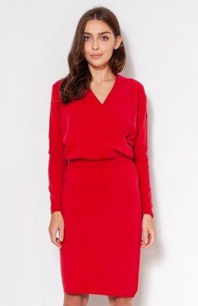 Swetrowa sukienka z kopertowym dekoltem czerwona SWE136
