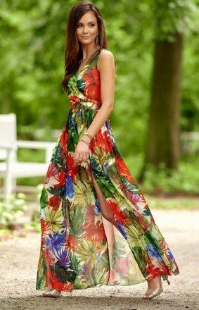 Szyfonowa długa sukienka letnia kolorowa 0209 D23