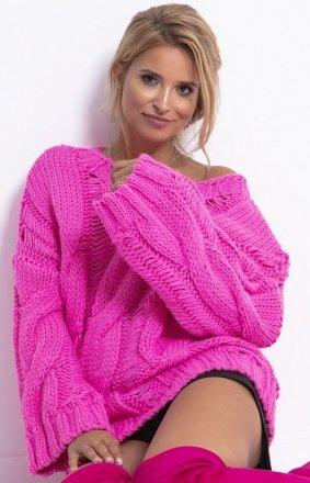 Ciepły oversizowy sweter pink F776