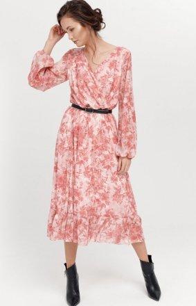 Sukienka midi z falbaną w kwiaty 0241/R07