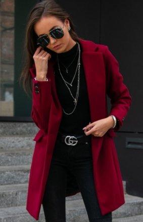 Wełniany płaszcz bordowy Roco P012
