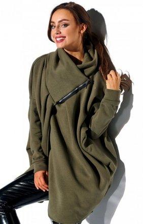 Oversizowa bluza na zamek khaki LN100