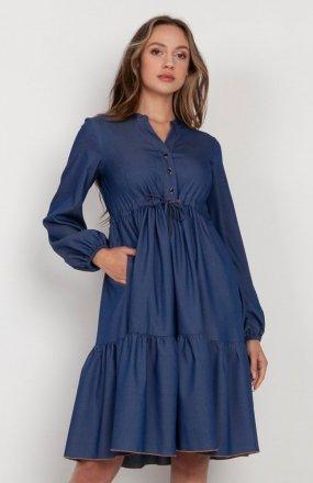 Rozkloszowana sukienka z troczkami w pasie jeans SUK203