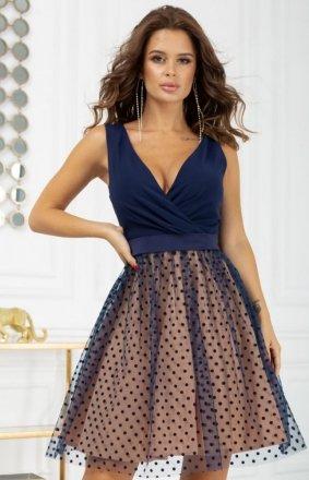 Rozkloszowana sukienka w groszki 2217-22