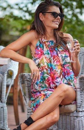 Luźna sukienka w kolorowe kwiaty A289