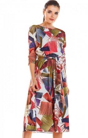 Sukienka wzorzysta ecru-różowy M192