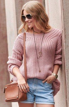 Oversizowy sweter brudny róż S74