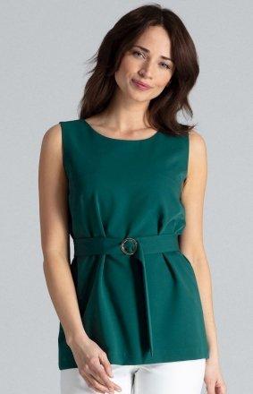 Elegancka zielona bluzka bez rękawów L041