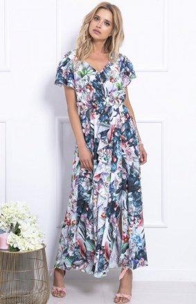 *Biało-niebieska sukienka maxi w kwiaty F718