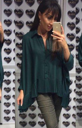 Oversizowa koszula z plisowaniem butelkowa zieleń