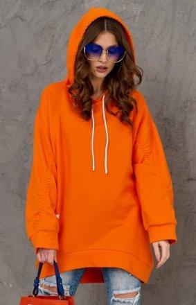 Oversizowa bluza damska z kapturem pomarańczowa 0006
