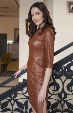 Skórzana sukienka brąz SUK178