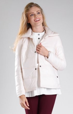 Beżowa pikowana kurtka NA082LP