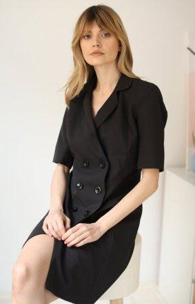 Żakietowa czarna sukienka LP259